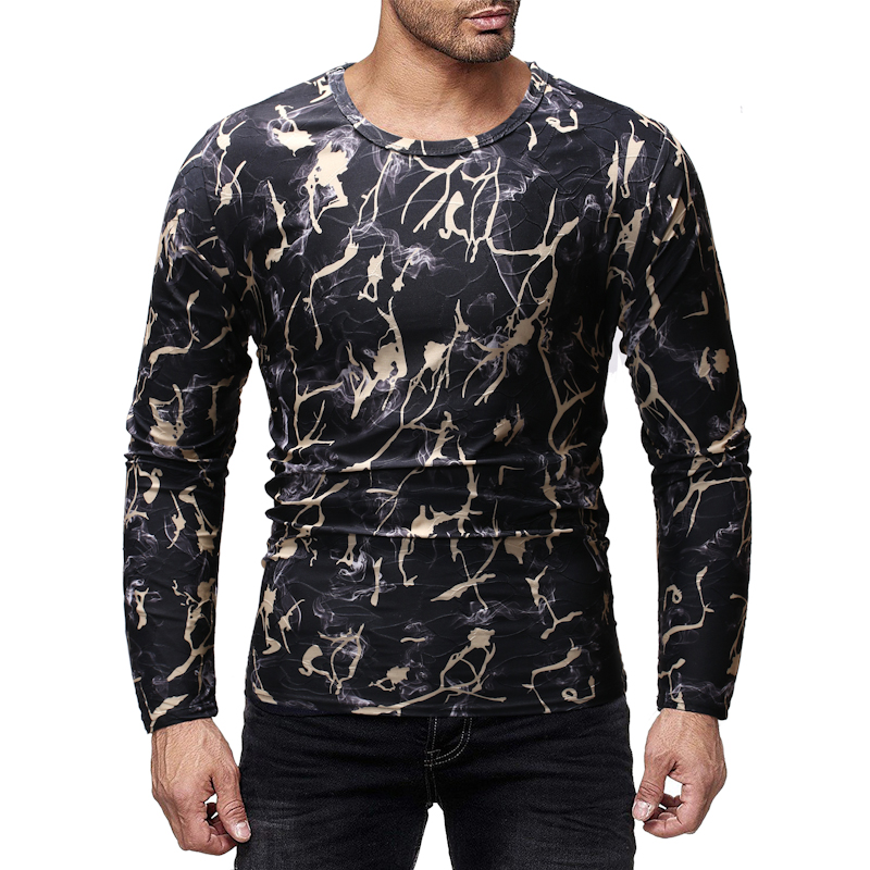 MarKyi 2019 spring new long sleeve 3d -print cotton men t-shirts top clothes good quality o-neck basic tops tees