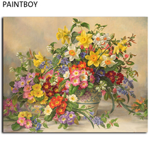 Framed Pictures Painting By Numbers Europe Flower Handwork Canvas Oil Painting Home Decor For Living Room GX7236