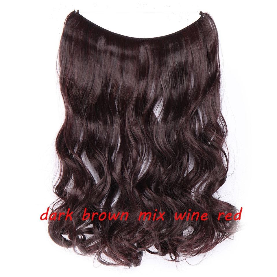 S-noilite 20 дюймов невидимый провод без заколки для волос Расширения секретная Рыбная линия шиньоны шелковистые прямые настоящие натуральные синтетические - Цвет: 2 mix 110