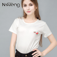 Women S Summer T Shirt Plain White Funny Tees Tops With Fruit Watermelon Print Female Mujer