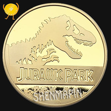 Dinosaur Commemorative Coin Jurassic Park Coins Collectibles 999 Gold Three-dimensional Lucky Animal Liberty Challenge Coin special forces sniper challenge coin double sided embossed ancient bronze commemorative coin military coins collectibles