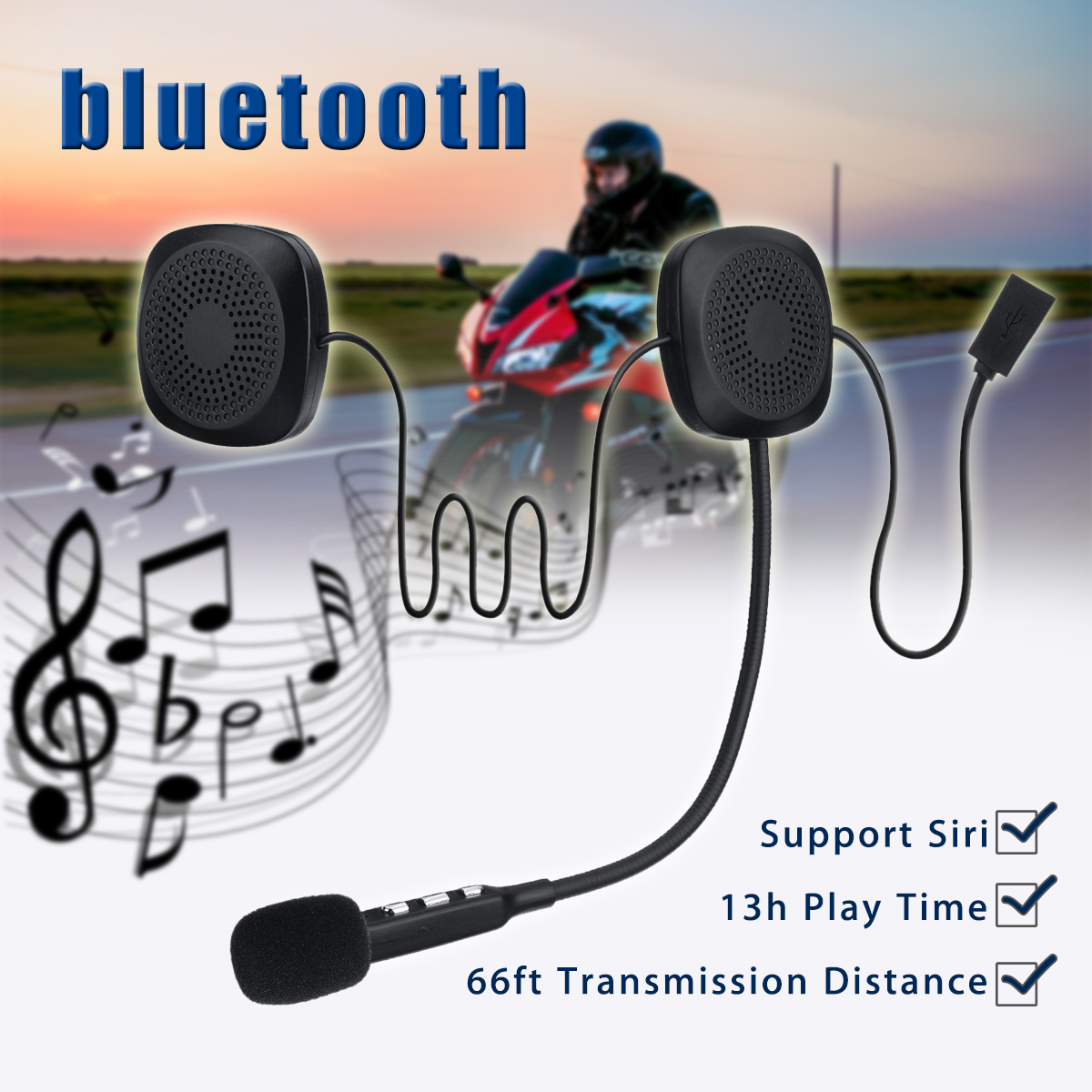 Audew 50M Anti-interference Bluetooth V4.2 Wireless Motorcycle Helmet Headset With Bluetooth Function Hands Free Intercom