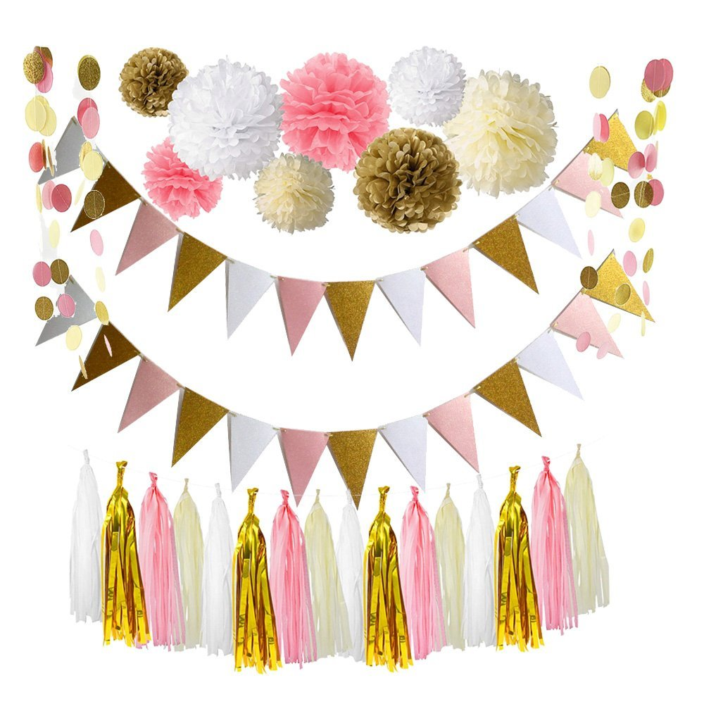 Pink Gold White Theme Wedding Decoration Set,Triangle Glitter Banner ...