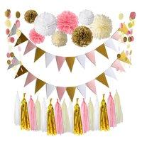 Roze Goud Wit Thema Bruiloft Decoratie Set, Driehoek Glitter Banner, Tissue Pom Poms, Tissue Kwastje, Glitter Stip Guirlande