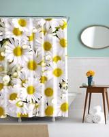 Beautiful White Flowers 3D Photo Digital Printing Bath Waterproof Shower Curtains