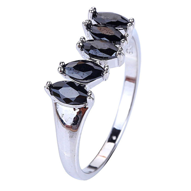Free Shipping Factory direct selling Saucy Fetching black Spinel 925 Silver Ring Size 9 Fashion Jewelry gift for women wholesale