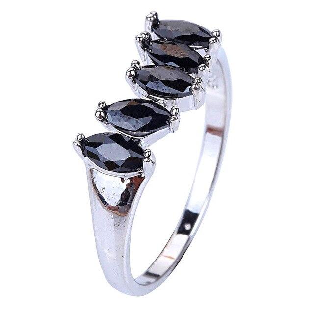 Venda direta picante buscando preto Spinel 925 anel de prata tamanho 9 jóias para mulheres