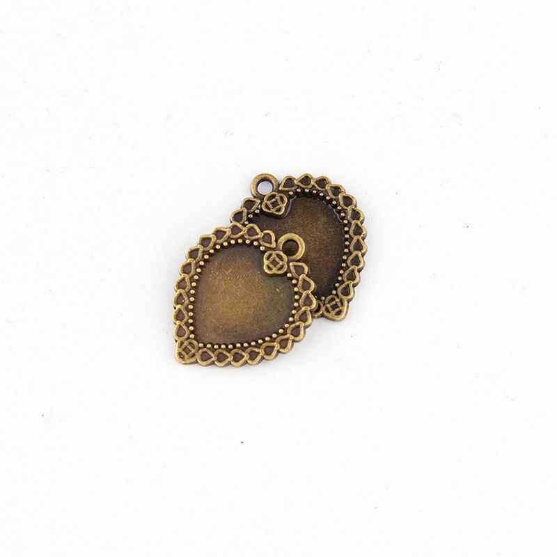 Fit 14mm Hart Antieke Bronzen Hangers Instellen Cabochon Cameo Base Tray Bezel Blank DIY Sieraden Bevindingen
