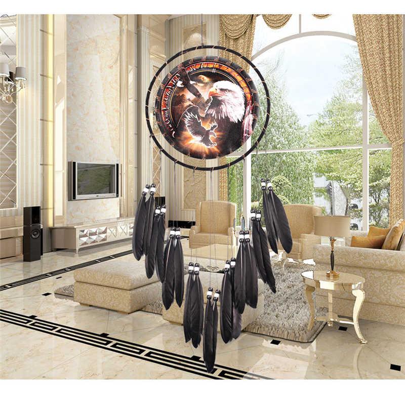 Потертый шик Свадебный Ловец снов индийское перо Настенное подвесное металлическое кольцо большой круг гостиная постельные принадлежности Ловец снов для девочек