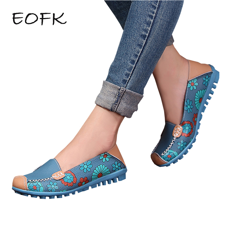 EOFK Summer Women Loafers Leather Womens Flats Printing Leather Breathable Patchwork Flowers Slip On Shoes Woman