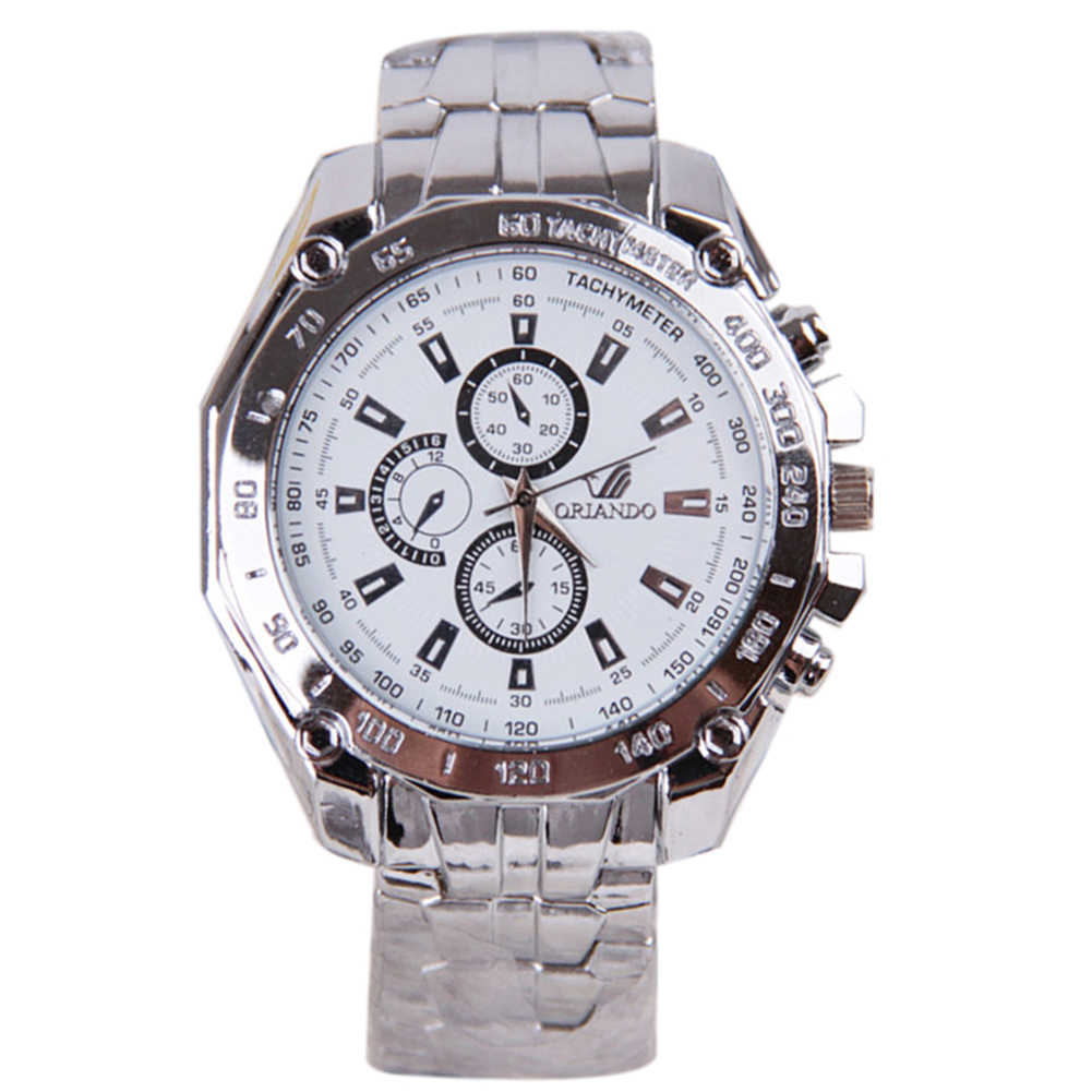 ORLANDO Luxury Mens Dress WATCH Multi Time Waterproof alloy Analog Quartz White