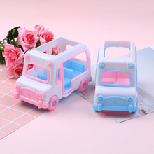 1Pc Car Plastic Car Model Baby House Game Toy Mini Bus Plastic Model House Game Toy Doll Car Baby Toy(China)