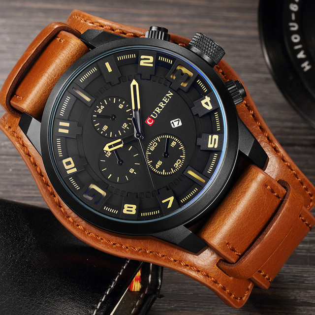 CURREN 2019 New Men Fashion Quartz Watches Men's Army Leather Sports Wrist Watch Military Date Male Clock Relogio Masculino 3