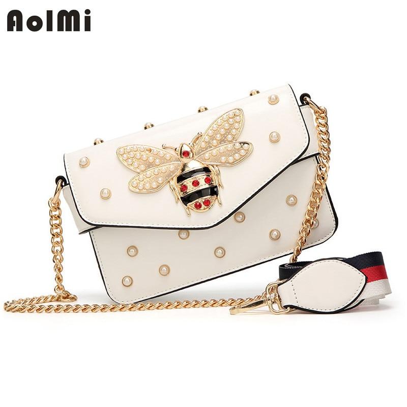 AolMi Luxury Brand Bag Women Pearl Little Bee Bag Chain Strap Handbag Crossbody Diamond Evening Bag Messenger Shoulder Bag bolso