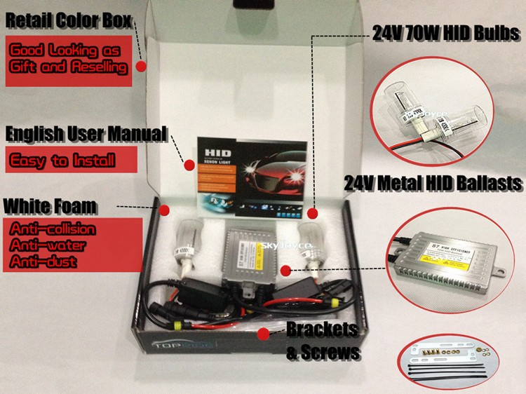 DHL free shipping Truck use  hid xenon kit 70W hid headlight H1 H3 H7 H11 9005 9006 12V 24V hid xenon headlight bulb kit SQ1408 free dhl ems shipping 85w 8500lm hid xenon flashlight 85w 65w 45w sos hid hunting light can be delivered in 3 7 days