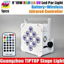 China TITPOP Nueva 9×18 W American DJ Par Latas Alimentado Por Batería Construido En 2.4G Receptor Inalámbrico de Infrarrojos Control RGBWAUV 6IN1 Color