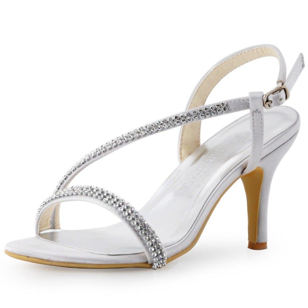 120d87475a07c EP11097 النساء أحذية الفضة سيدة العروس وصيفات الشرف المفتوحة تو عالية الكعب  ستيان مساء حزب الصنادل الراين النساء أحذية الزفاف