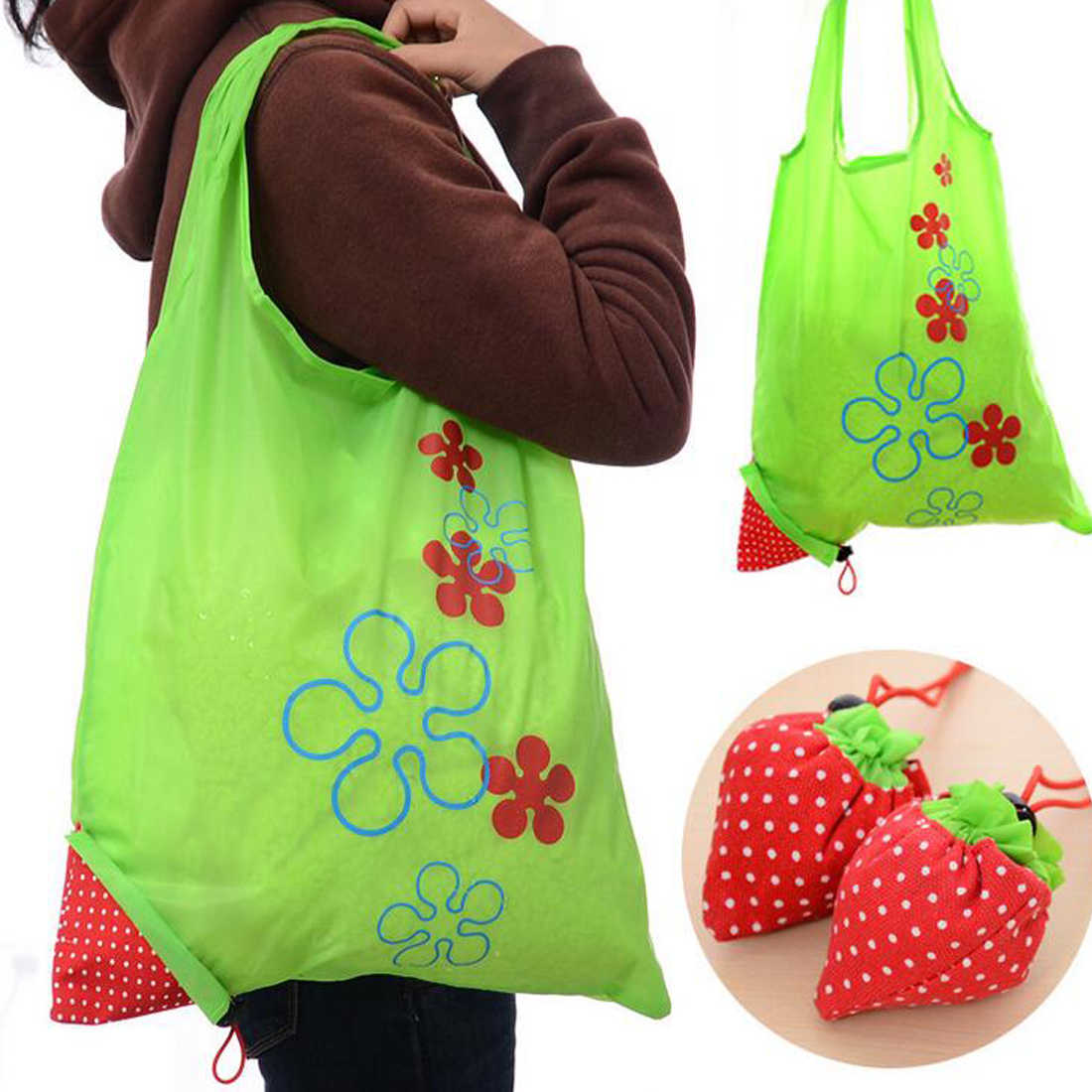 Top Sale Nylon Foldable Reusable Bags Strawberry Tote Eco Storage Handbag for Groceries Shopping