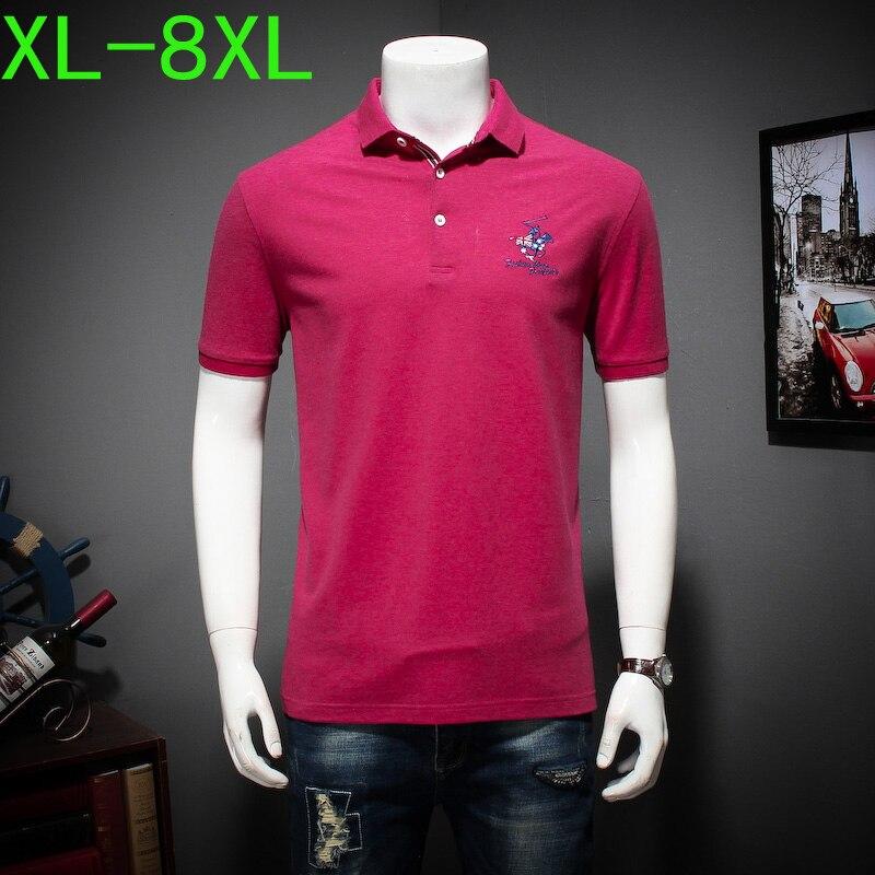Été grande taille à manches courtes broderie revers T-shirt mâle bouton lâche T-shirt 4XL5XL6XL7XL8XL