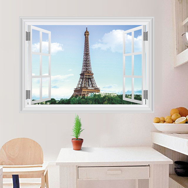 Paris Tower Fake Window Wall Stickers Living Room Bedroom Decoration City Scenery Mural Art Landscape