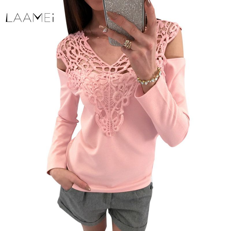 Laamei New 2018 Fashion Summer Sexy Hollow Out O Neck Shirts Women Elegant Long Sleeve Off Shoulder Tops Bodycon Slim Blusas