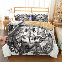 Drop Shipping 3D Skull Bedding Set For King Size Bed Europe Style Sugar Skull Duvet Cover