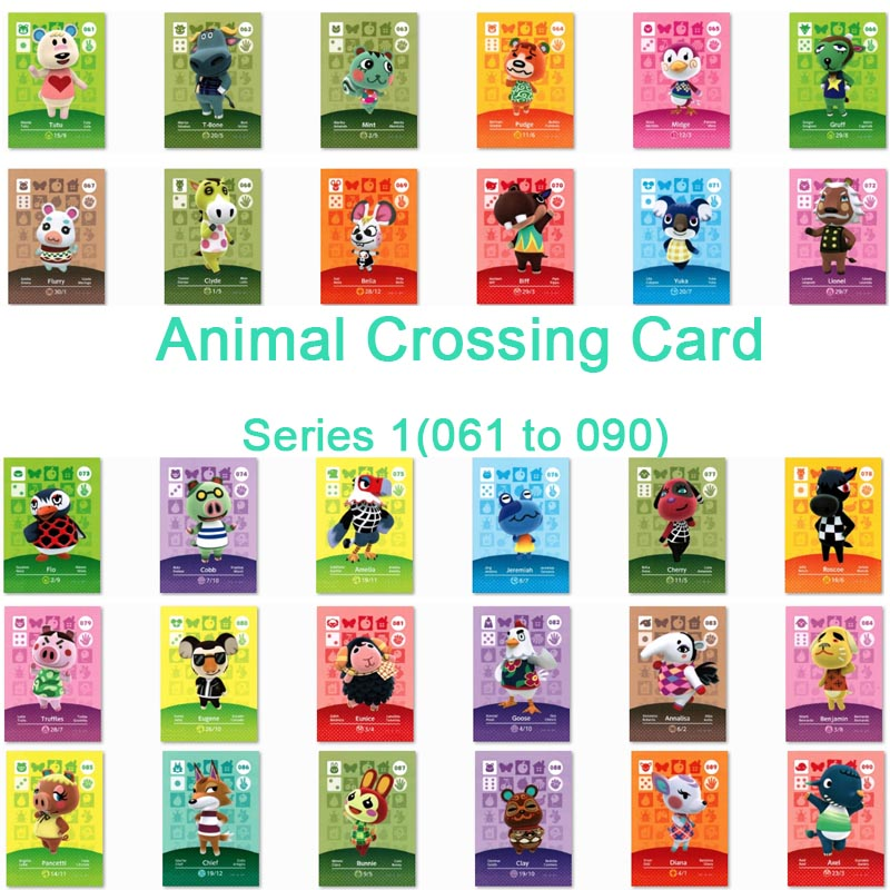 <font><b>Animal</b></font> <font><b>Crossing</b></font> <font><b>Card</b></font> <font><b>Amiibo</b></font> <font><b>Card</b></font> Work for NS Games Series 1 (061 to 090) image