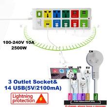 EU UK US universal power strip usb power strip with 3 Outlet & 14 usb socket