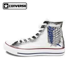 Парусиновая обувь Для мужчин Для женщин бренд Converse All Star атака на Титанов ручная роспись спортивные кроссовки с высоким берцем Скейтбординг обувь
