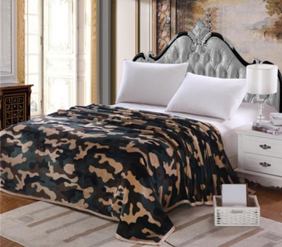 Quality Fashion Camouflage Plush Soft Faux Mink Flannel Fleece Blanket  Throws Twin/Full/Queen Size Army Green Air/Sofa/Bed Cover