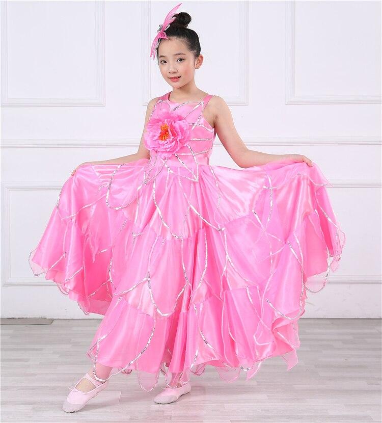 Children Spanish Dress Opening Dance  Faldas Para Bailar Cumbia Costume Gypsy Skirt Woman 540