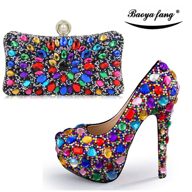 New Fashion Women Wedding Shoes With Matching Bags Multicolor High Heels Platform And Set