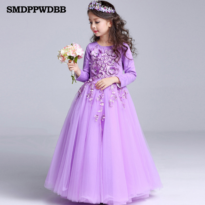 SMDPPWDBB Flower Girl Dresses Wedding Long Sleeve Kids Pageant Party Bridesmaid Ball Gown Prom Princess Formal Occassion Dress ball gown sky blue open back with long train ruffles tiered crystals flower girl dress party birthday evening party pageant gown