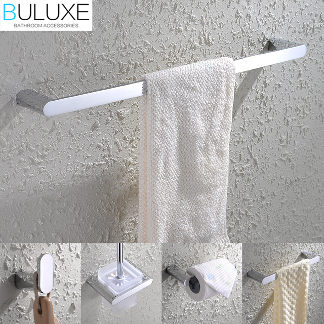 BULUXE Brass Luxury Bathroom Accessories Wall Mounted Towel Rack Ring  Holder Toilet Paper Holder Accessories Set