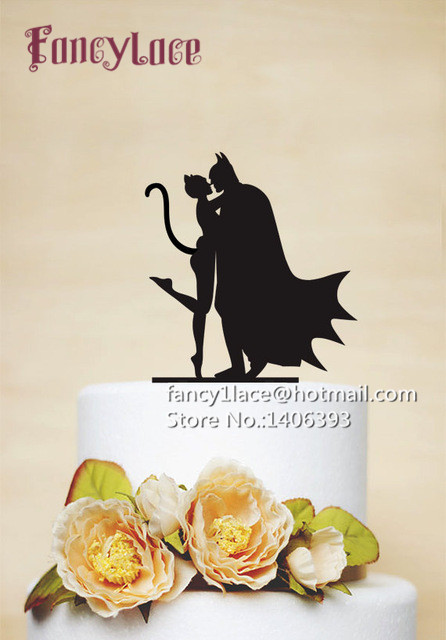 10pcs Glitter Paper Batman And Catwoman Mask birthday cake toppers