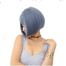 Anime Blue Short Bob Wigs For Women Heat Resistant Synthetic Hair Natural Costume Party Cosplay Wig With Bangs + Free Wig Cap цена