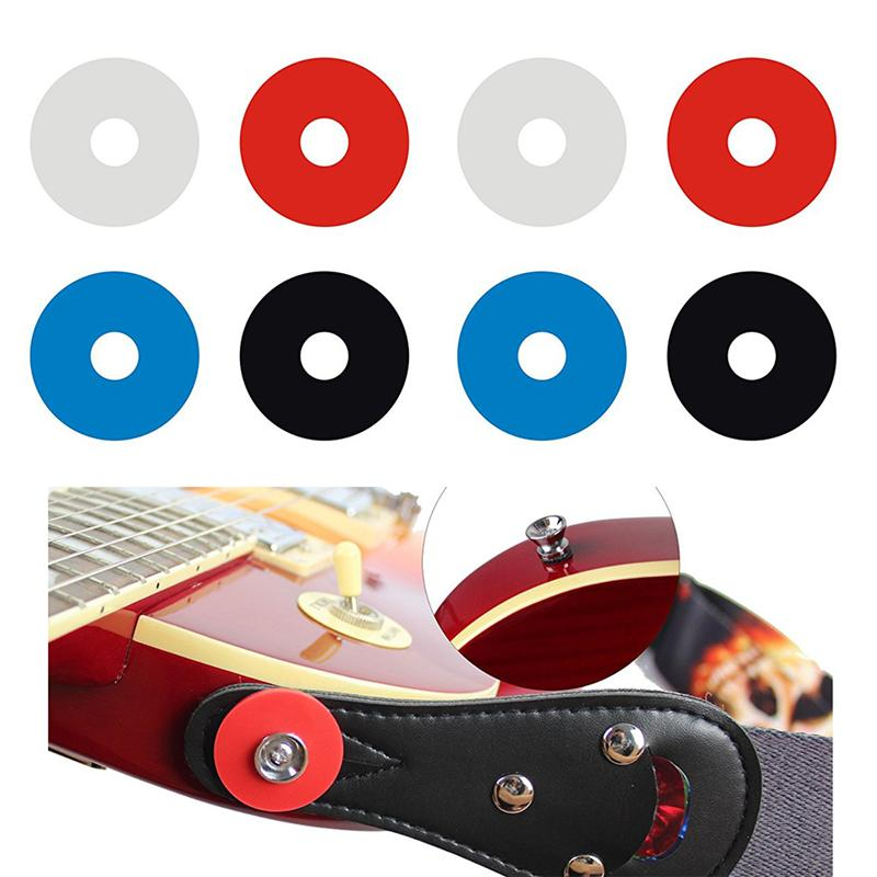 8pcs Premium Strap Locks Anti Slip Guitar Strap Blocks with Lock Button (2*White + 2*Blue + 2*Red * 2*Black)