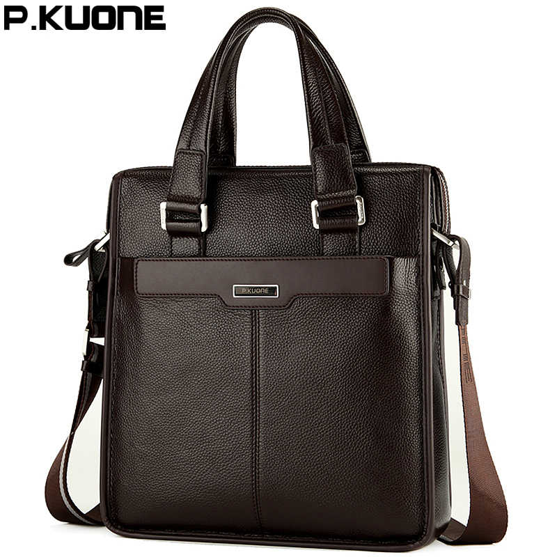 P.KUONE Genuine Leather Men's Messenger Shoulder Bag Gentleman Business Bag Real Leather Men Crossbody Bag Brand fashion handbag
