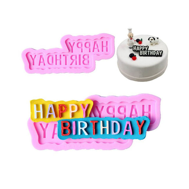 silicone cake mould happy birthday letter shape cake cupcake decoration fondant chocolate mold gifts for girlfriend