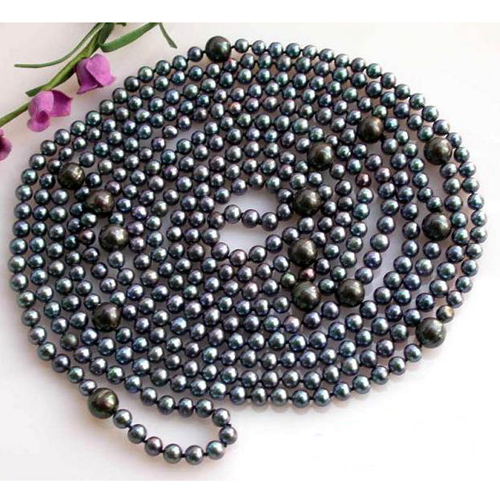 Perfect New Arriver Pearl Jewellery,100'' 6-11mm Black Round Freshwater Cutured Pearl Necklace,Long Pearl Birthday Women Gift