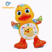 LeadingStar Battery Powered Musical Dancing Duck Toy With Flashing Light Interesting Waddle Toy Gift For Toddlers