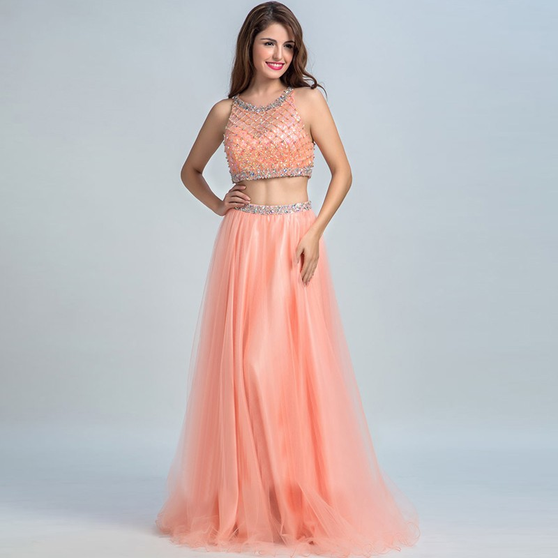 Long Evening Dresses Party Crystals Beading Two 2 Piece Prom Dresses Ladies Women Formal Dresses Evening Gown Formal Evening