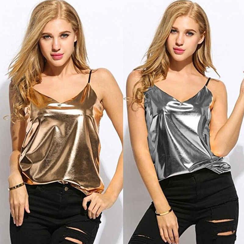 יבול צמרות נשים טנקי Camis קיץ אפוד סקסי כסף זהב ללא שרוולים חולצה מקרית גופייה חולצה אופנה