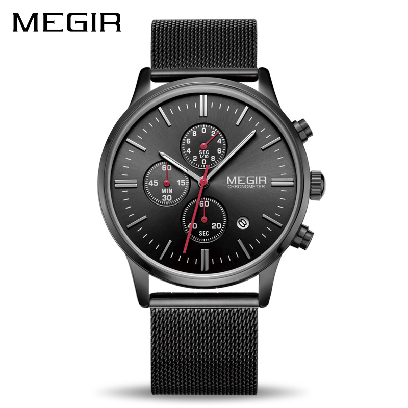 MEGIR Watch Men Stainless Steel Quartz Men Watches Chronograph Watch Clock Men Relogio Masculino for Male Students Relogios genuine jedir quartz male watches genuine leather watches racing men students game run chronograph watch male glow hands