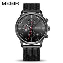 Megir腕時計メンズステンレス腕時計クロノグラフ腕時計時計男性レロジオのmasculino男性学生relogios