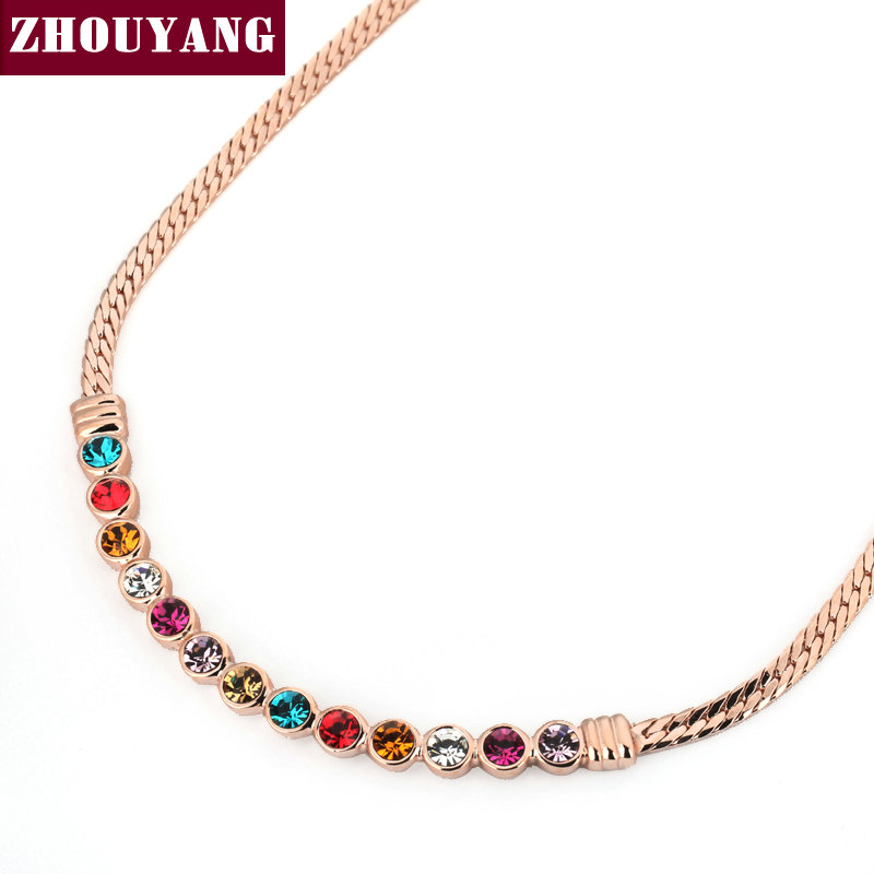 Candy Colors CZ Crystal Gold Plated Chain Necklace Jewelry Wholesale Top Quality Party Wedding Gift ZYN353