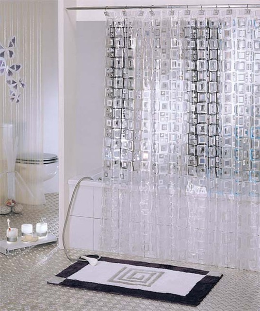 Free Shipping Brand New White Hyaline Mosaic PVC Shower Curtain Y2601 Wholesale and Retail