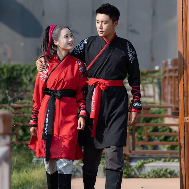Hanfu femmes traditionnel chinois danse Costumes Wushu vêtements Tang Qing dynastie hommes chinois ancien Costume scène porter DNV11622
