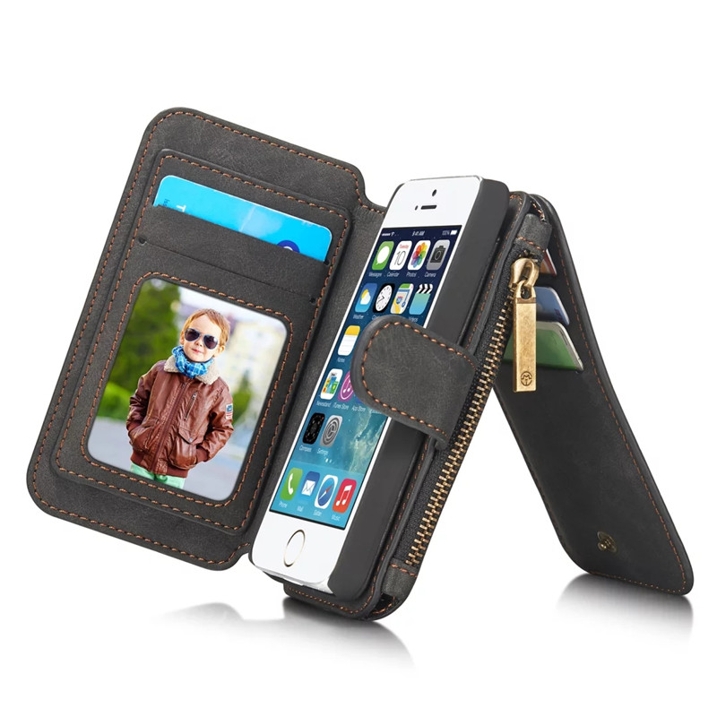 Second Layer Leather Phone Case for iPhone On 5 5S SE New Multi Functional 2 in