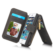 Second Layer Leather Phone Case for iPhone On 5 5S SE New Multi Functional 2 in 1 Leather Stand Wallet Bag Cover Cases